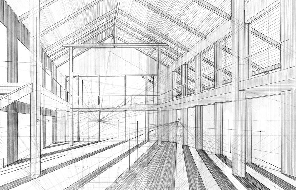 Konstruktion einer Perspektive zum Architekturprojekt 1 von Antonia Zehfuß im SS 2020