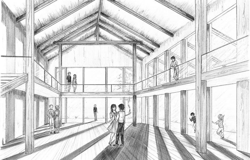 Innenraumperspektive zum Architekturprojekt von Antonia Zehfuß im SS 2020