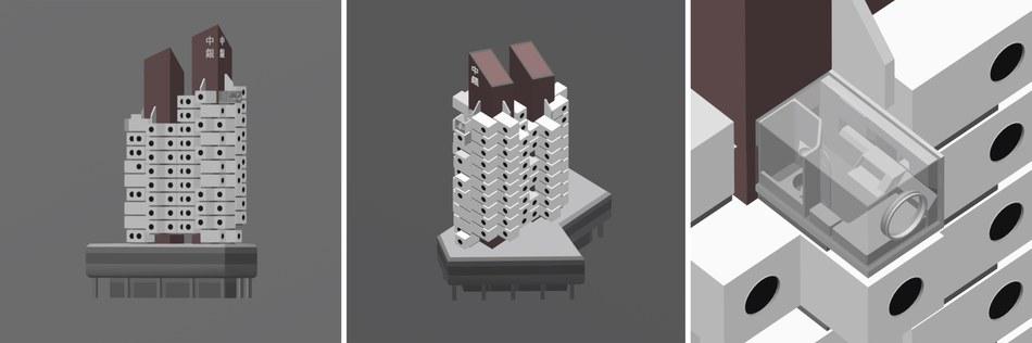 Modell des Nakagin Capsule Tower
